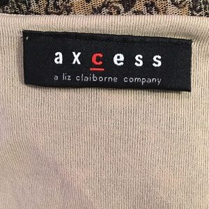 Axcess Tops - Axcess Tan & Black Top with Lace Details